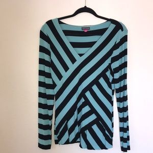 Large Vince Camino Strechy Blue Green/ Black Top
